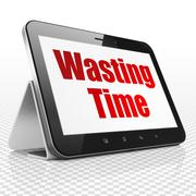 Timeline concept: Tablet Computer with Wasting Time on display Stock Illustration