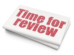 Timeline concept: Time for Review on Blank Newspaper background Stock Illustration