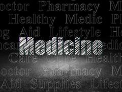 Healthcare concept: Medicine in grunge dark room Stock Illustration