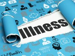Healthcare concept: black text Illness under the piece of  torn paper Stock Illustration