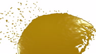 Yellow fluid stream hits a surface. syrup Stock Footage