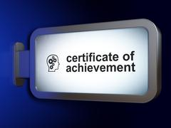 Education concept: Certificate of Achievement and Head With Gears on billboard Stock Illustration