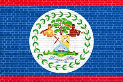 Flag of Belize on brick wall texture background Stock Illustration
