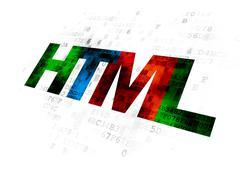Programming concept: Html on Digital background Stock Illustration