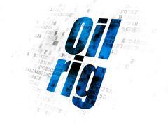 Industry concept: Oil Rig on Digital background Stock Illustration