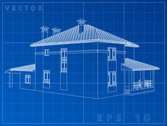 Architectural background with a 3D building model. Vector clip-art Stock Illustration