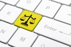 Law concept: Scales on computer keyboard background Stock Illustration