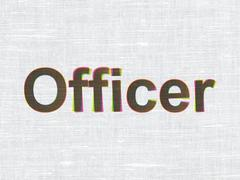 Law concept: Officer on fabric texture background Stock Illustration