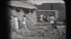 1948: some women entering a tent erected in the open ground NEW YORK Stock Footage