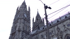 Panning shot of Quito Ecuador Cathedral Roof Stock Footage