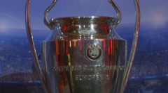 Footage of the Champions League Trophy exposed to the people of Sarajevo Stock Footage