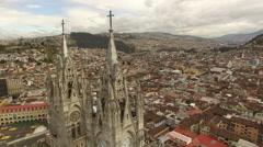 Quito Ecuador Fly past Cathedral Towers Stock Footage