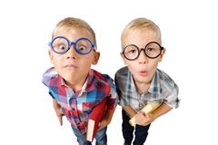 Wide angle close-up funny portrait of two boys student in shirt in glasses Stock Photos