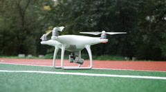 Quadrocopter while flying in the sky. the air on the camera. Stock Footage