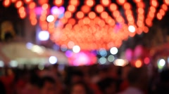 Background Blur Group Parade of peoples in night market. Stock Footage
