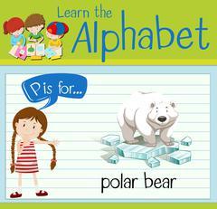 Flashcard letter P is for polar bear Stock Illustration