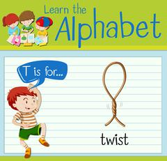 Flashcard letter T is twist Stock Illustration
