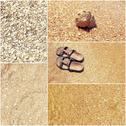 Collage of toned pictures of many beach items - flip-flops, shells,sand, sea Stock Photos
