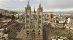 Wide aerial of Basílica del Voto Nacional in Quito Stock Footage