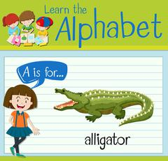Flashcard letter A is for alligator Stock Illustration