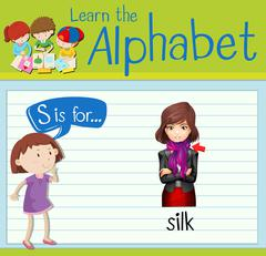 Flashcard letter S is for silk Stock Illustration