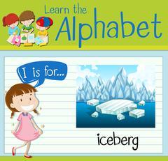 Flashcard letter I is for iceberg Stock Illustration