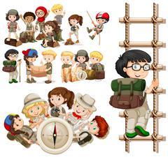 Children doing different activities for hiking Stock Illustration