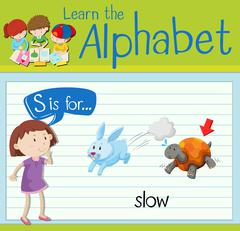 Flashcard letter S is for slow Piirros