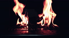 4k Shot of Laptop Burning in Fire Flames Stock Footage