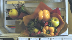 Fruit and vegetable bouquet, still life, vitamin mix, close-up Stock Footage