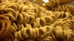 Knitted bagels, plenty of bagels, close-up Stock Footage
