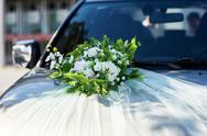 Luxury beautiful wedding car decorated with flowers Stock Photos