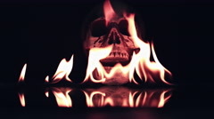 4k Halloween Shot of Skull Burning in Fire Flames Stock Footage