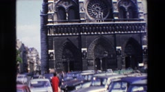 1969: amazing and historical building on a crowded and noisy street PARIS Stock Footage