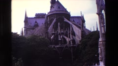 1969: view of a creepy castle surrounded by trees and a hazy sky  Stock Footage