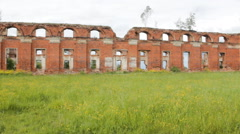 Majestic Ruins of stables and headquarters of hussars of 19th century Stock Footage