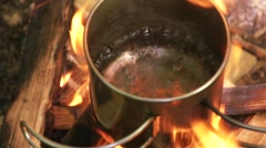 Water boiling in a pot Stock Footage