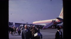 1967: aircraft prepare gate motion airport pushback people walk AMSTERDAM Stock Footage