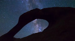 MoCo Tracking Astro Time Lapse of Galaxy thru Mobius Arch -Long Shot- Stock Footage