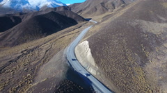 New Zealand aerial Lindis Pass scenic journey Stock Footage