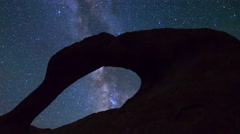 MoCo Tracking Astro Time Lapse of Galaxy thru Mobius Arch -Zoom Out- Stock Footage