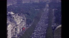 1969: a beautiful woman looking out over a stunning historic city LOURDES Stock Footage