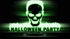 Burning with a green flame skull and text Halloween Party. Stock Footage