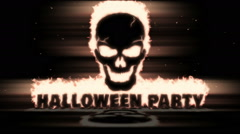 Burning Skull with text Halloween Party Stock Footage