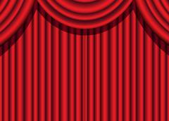 Red velvet curtain Stock Illustration