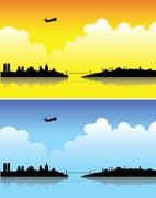 Istanbul on a bright day and at dusk Stock Illustration