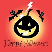 Poster for Halloween with bats and pumpkins Stock Illustration