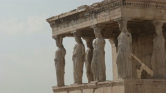 The erechthion ladies at the acropolis in athens, greece Stock Footage