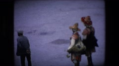 1971: snow people walk busy tourism dressed heavy ALGERIA Stock Footage