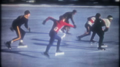 Teenage boys speed skating competion at ice arena, 3697 vintage film home movie Stock Footage